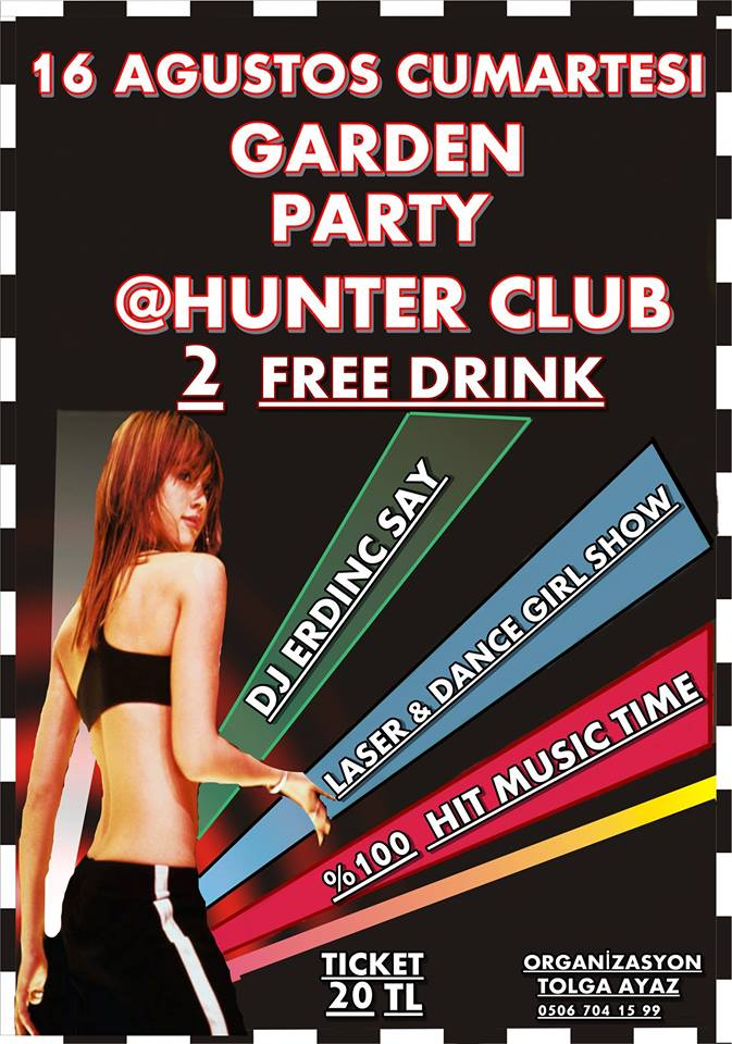 denizli hunter club garden party dj erdinç say laser ve dance girls show