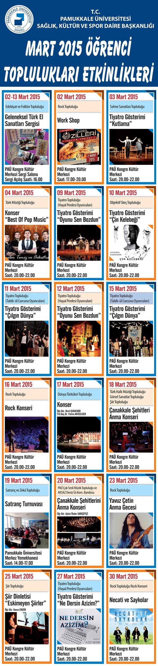 Pamukkale üniversitesi Mart 2015 öğrenci toplulukları etkinlikleri