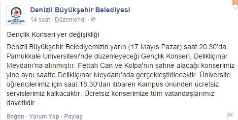 Denizli 19 Mayıs gençlik konseri belediye açıklama